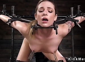 Spit slave fucked with dildo