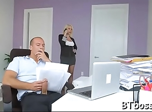 Sexy boss lady gives a hot blowjob and gets a bite goo