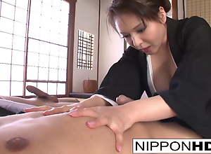 Asian brunette shows off her blowjob skills