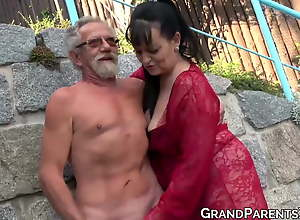 Busty grandma blows big old cock and gets cum..