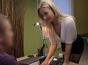 LOAN4K. Sexy blonde pays for her debts using her..
