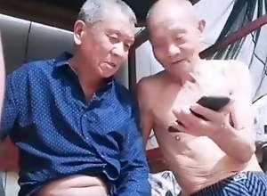 Chinese old men fucking at home