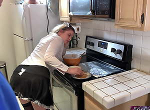 The maid takes a hard cock in the kitchen