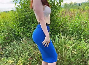 Girl in a skirt loves sex in nature after a..