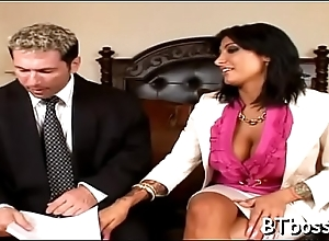 Stunning big-shot gets their way shaved cunt licked and drilled steadfast