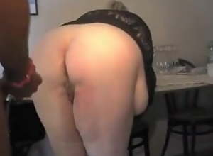Fat granny's first anal