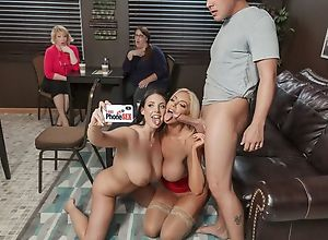 Two nymphomaniac porn babes fuck lucky guy in a..
