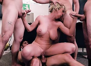 Short-haired teacher gets gangbanged by four..