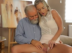 OLD4K. Old geography teacher fucks slutty blonde..