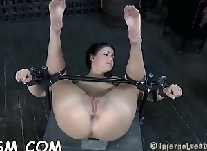 Chained up babe gets doggy appearance plowing..