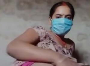 Face Masked Village Wife Does Live Cam Show To..