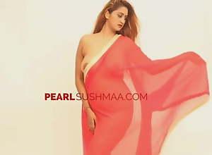 Pearl Sushmaa Red Saree Nipple Visible