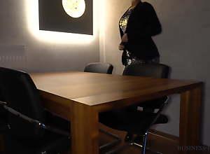 boss fucks secretary anally on the table -..