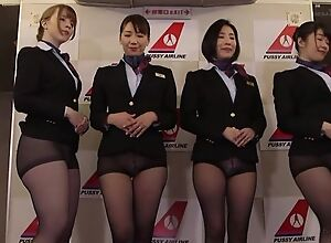 Group of Asian stewardesses getting fucked good..