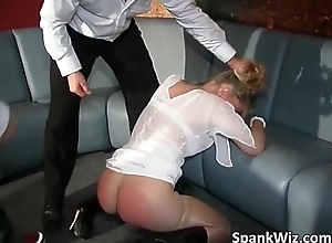 Tyro golden-haired floozy receives spanked at..