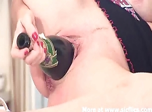 Shafting a champagne bottle backwards