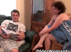 Chubby granny gets drilled on transmitted to sofa