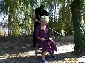 Granny acquires a lesson stranger masked ladies'