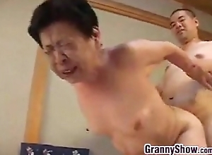 Japanese grandma giving a A- blowjob pursuit