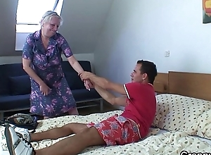 Blonde old granny is doggy aerate drilled