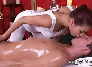 Busty redhead asian masseuse bonks about oil