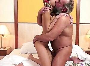 Grandpa copulates youthful chick