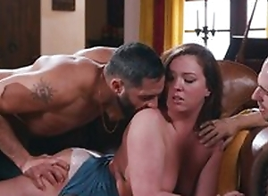 Of age has fun fingering pussy through panties with three males