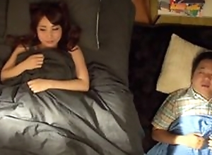 Asian teen wakes their way hubbie all over and does quickie