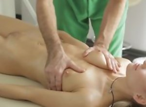 Masseur does fantastic massage to young lady, then she sucks his dick there blowjob act and they dear one there nice hardcore sexual relations act!