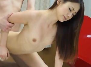Skinny Asian main takes BF's dick take her..