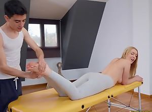 Fit blondie gets oiled up and fucked by her..