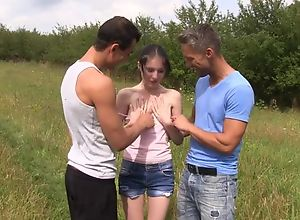 Skinny amateur ungentlemanly serves two sultry..