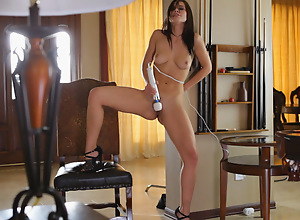 Chesty brunette Aidra Fox plays with her potent..
