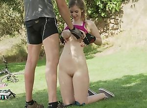 Hot comprehensive with beamy tits gets anally..