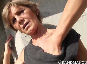 Suggestive grandma teased by younger guy before..