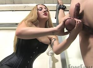 Blonde-haired mistress humiliates her personal..