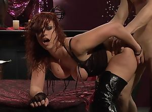 Enlivened redhead slut in high serving-girl gets..