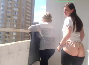Girl shows tits and lousy with fount be..