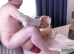 Adorable bookworm was teased with an increment of fucked wide of doyenne tutor