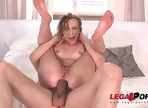 Blonde Babe Angel Emily Intense Airtight DP relating to four cocks
