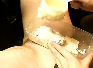 Boy cock encased on touching hot wax CBT