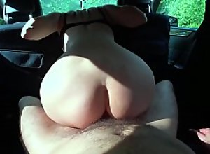 Husband Fisting Pussy and Ass Fucking in Car -..