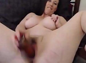 Hot brunette pounds hairy vagina and bald asshole