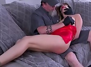 Delivery man torments brunette babe