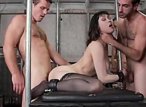 Huge tits slut in anal gangbang group