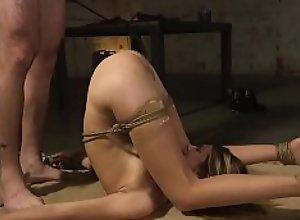 Slim brunette slave is rough banged