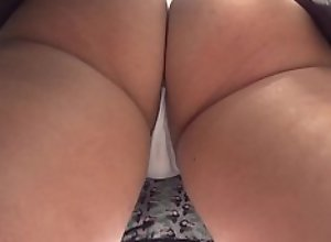 Amazing Young White Girl in Mini Skirt Thong..
