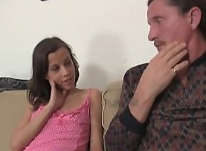 Petite girl seduces old dad to lick her young..