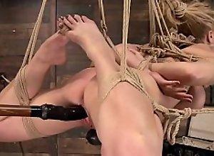 Huge tits MILF is toyed in hogtie