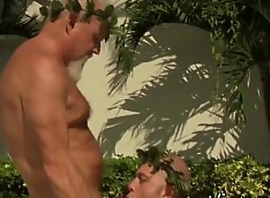 Bearded grandpa bangs his lover raw and cums on..